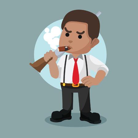 Illustration pour African mafia guy holding shotgun– stock illustration - image libre de droit