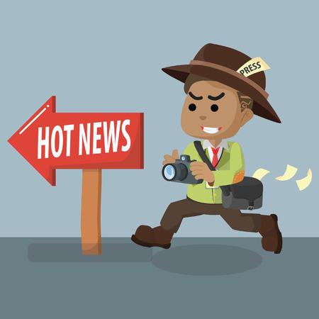 Ilustración de African journalist following hot news– stock illustration - Imagen libre de derechos