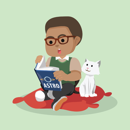 Illustration pour African boy reading while cat watching– stock illustration - image libre de droit