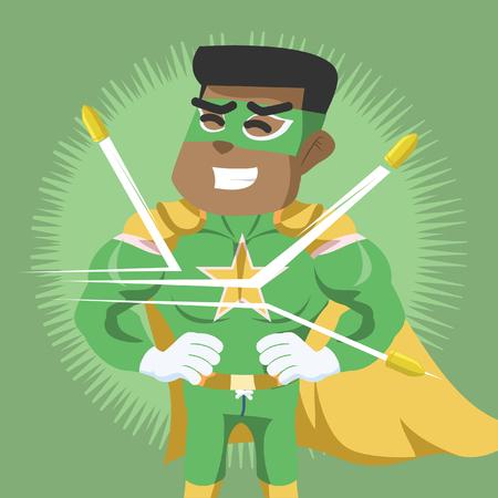 Ilustración de Superhero deflect the bullets– stock illustration - Imagen libre de derechos