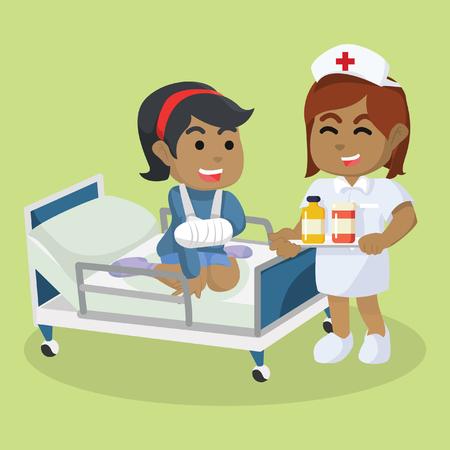 Ilustración de African nurse giving medication– stock illustration. - Imagen libre de derechos