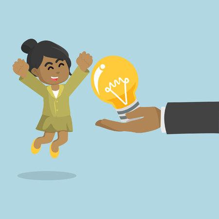 Illustration pour African businesswoman happy because get a bulb– stock illustration - image libre de droit