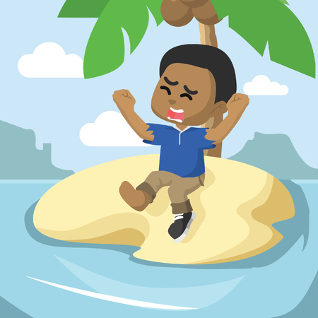 Illustration pour Boy stranded on an island. - image libre de droit