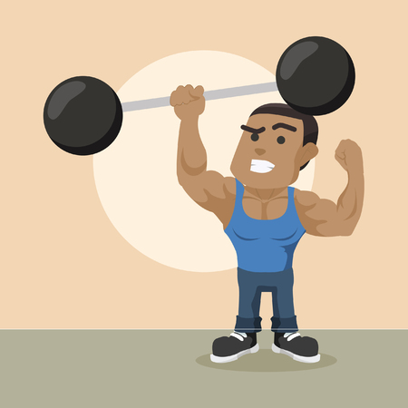 Illustration pour African body builder lifting giant dumbbell with one hand– stock illustration - image libre de droit