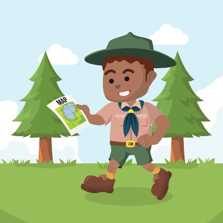 Illustration pour African boy scout walking with map– stock illustration - image libre de droit