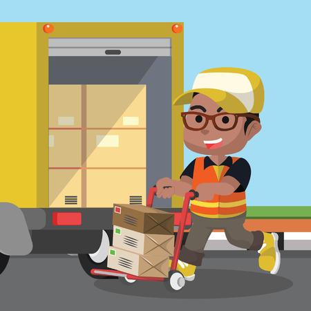 Illustration pour African delivery service loading the package– stock illustration - image libre de droit
