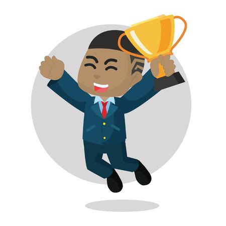 Illustration for African businessman jump happy– stock illustration - Royalty Free Image
