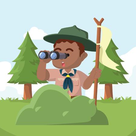 Illustration pour African boy scout behind bush with binocular– stock illustration - image libre de droit