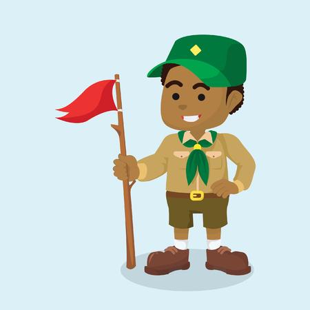 Illustration pour African boy scout with flag vector illustration - image libre de droit