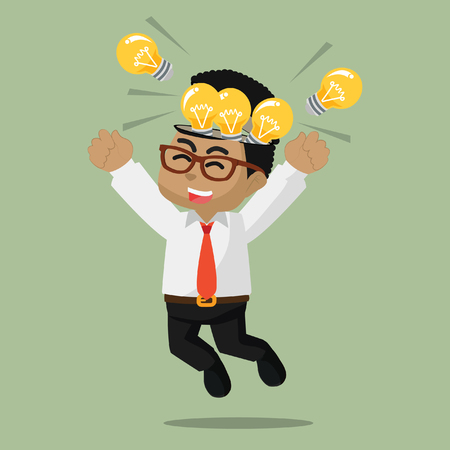 Illustration pour African businessman happy because full of bulb– stock illustration - image libre de droit