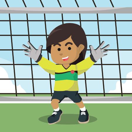 Illustration pour Boy standing as goalkeeper - image libre de droit