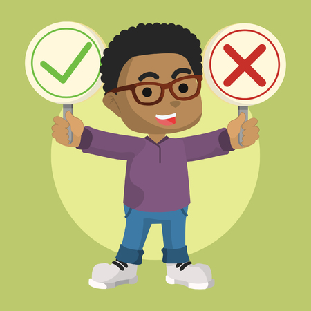 Illustration pour African boy holding right and wrong sign– stock illustration - image libre de droit
