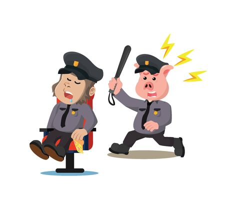 Illustration pour police pig is angry because gorilla cop is sleeping - image libre de droit