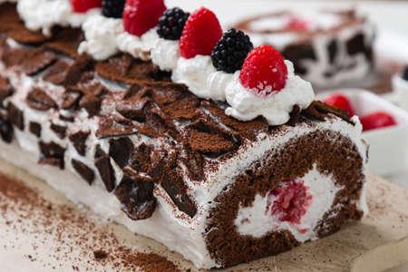 Photo for sweet tasty homemade fruit roulade snack dessert - Royalty Free Image