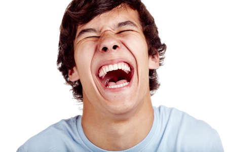 Photo for Laughing out loud young man face closeup - laughter concept - Royalty Free Image