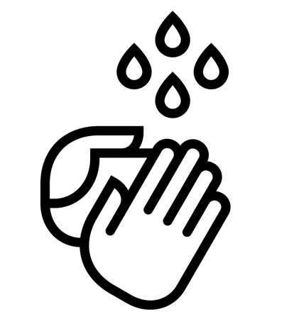 Ilustración de Vector icon of two hands under water drops. - Imagen libre de derechos