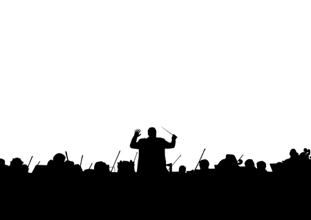 Photo pour Symphony Orchestra in the form of a silhouette on a white background - image libre de droit
