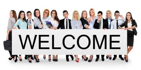 Foto de Welcome word writing on white banner - Imagen libre de derechos