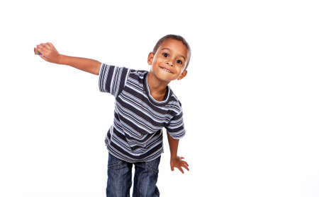 Photo pour Happy black african child in studio isolated on white. - image libre de droit