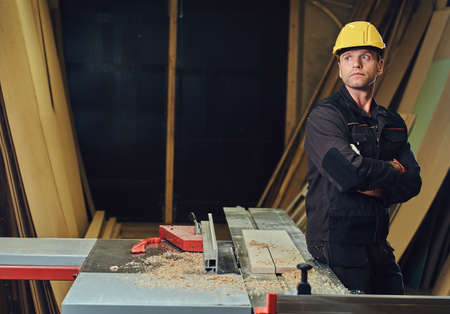 Photo for Carpenter male in a workshop. - Royalty Free Image