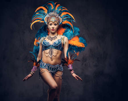 Photo for Studio portrait of a sexy female in a colorful sumptuous carnival feather suit. Isolated on a dark background. - Royalty Free Image