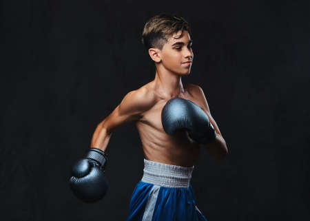 Photo pour Handsome shirtless young boxer during boxing exercises, focused on process with serious concentrated facial. - image libre de droit