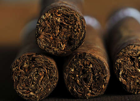 Detailed photo of a cigar front. Very shallow DOF