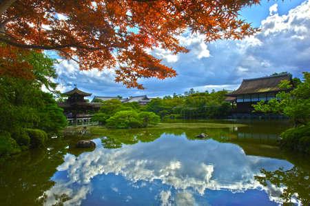 Beautiful Japanese Garden near Heian Shrine is reflecting in the calm water.