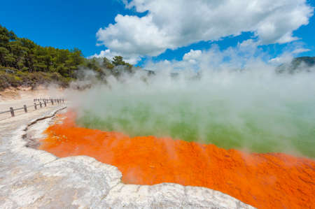 Photo for Unique steaming spring champagne pool in Wai-O-Tapu geothermal area, Rotorua, New Zealand - Royalty Free Image