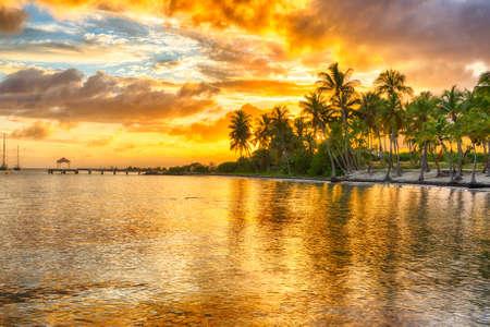 Photo pour Sunset over Anse Champagne beach in Saint Francois, Guadeloupe, Caribbean - image libre de droit