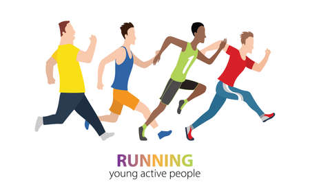 Running marathon people run colorful poster. Vector illustration. City competition