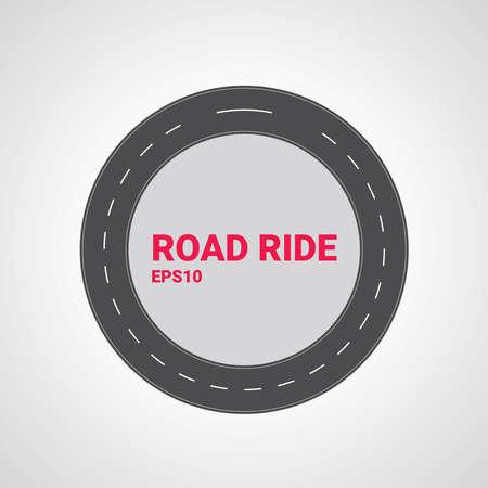 Illustration pour Vector road type. Set of different road marking. Round straight asphalt roads. - image libre de droit