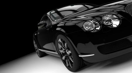 Luxury and powerful black car studio shot