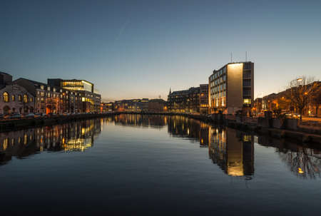 Photo for Cork city river reflection at dusk - Royalty Free Image