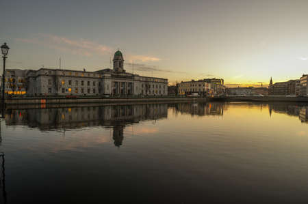 Photo for Cork city river reflection sunset cityscape - Royalty Free Image