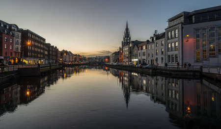 Photo for Cork city at dusk river reflection - Royalty Free Image
