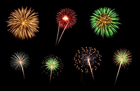 Photo for Colorful assorted fireworks selection on a black background  - Royalty Free Image