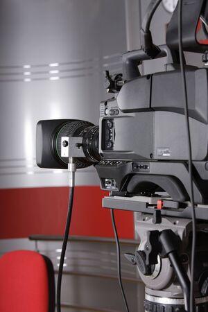 close up of studio video camera in news television studio