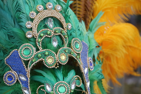 Photo for percussion instruments feathers and carnival embroidery - Royalty Free Image