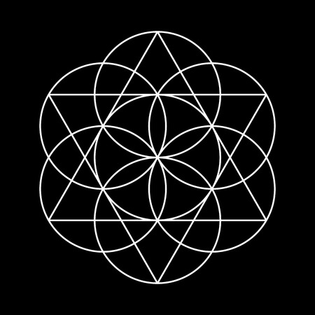 Ilustración de Flower of Life. White Vector Sacred Geometry isolated on black. - Imagen libre de derechos
