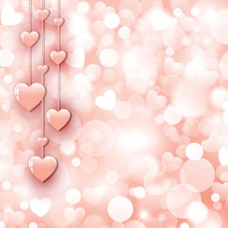 Ilustración de Background with beautiful pink hearts - Imagen libre de derechos