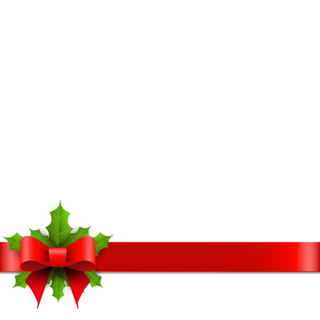 Illustration pour Christmas red bow with holly. Vector illustration. - image libre de droit