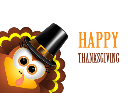 Illustrazione per Card for Thanksgiving Day. Turkey in a pilgrim hat. Vector. - Immagini Royalty Free