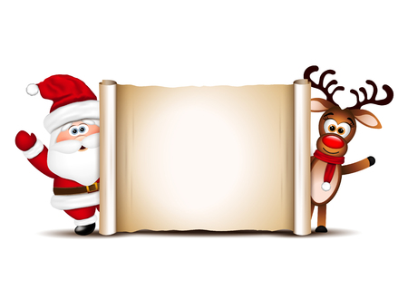 Illustrazione per Christmas card design template. Santa Claus and his reindeer. - Immagini Royalty Free