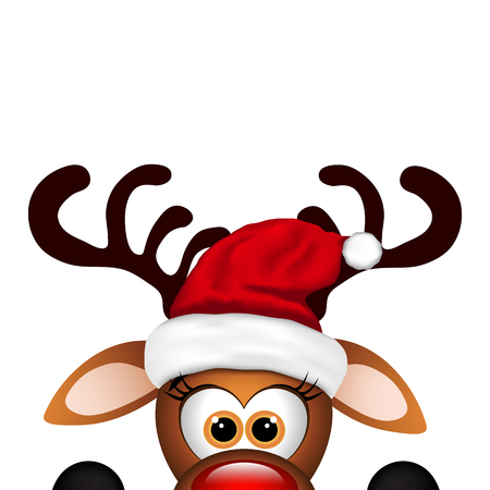 Illustrazione per Funny Christmas Reindeer  on a white background. - Immagini Royalty Free