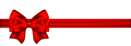 Illustration pour Red ribbon with bow on white background.  - image libre de droit