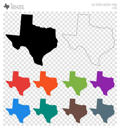 Illustration pour Texas high detailed map. Us state silhouette icon. Isolated Texas black map outline. Vector illustration. - image libre de droit