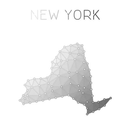 New York polygonal vector map. Molecular structure US state map design. Network connections polygonal New York map in geometric style for your infographics.