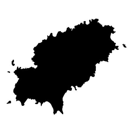 Illustration pour Ibiza map. Island silhouette icon. Isolated Ibiza black map outline. Vector illustration. - image libre de droit