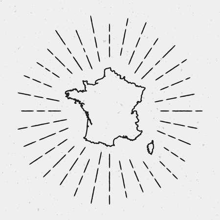 Ilustración de Vector France Map Outline with Retro Sunburst Border. Hand Drawn Hipster Decoration Element. Black Radiant Light Rays on White Background. - Imagen libre de derechos